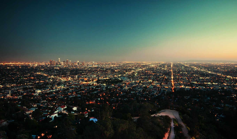закат, город, вечер, огни, первую, angeles, los,