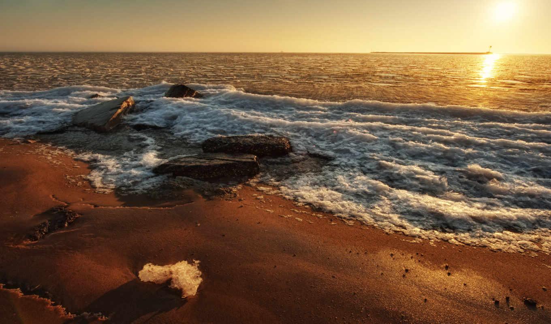 море, sun, закат, пляж,