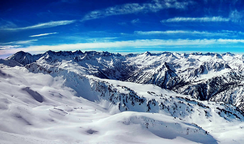 небо, blue, desktop, mountains, лед, free,