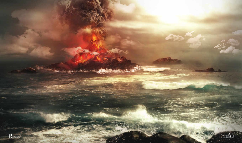 bang, гора, вулкан, рисунки, разное,