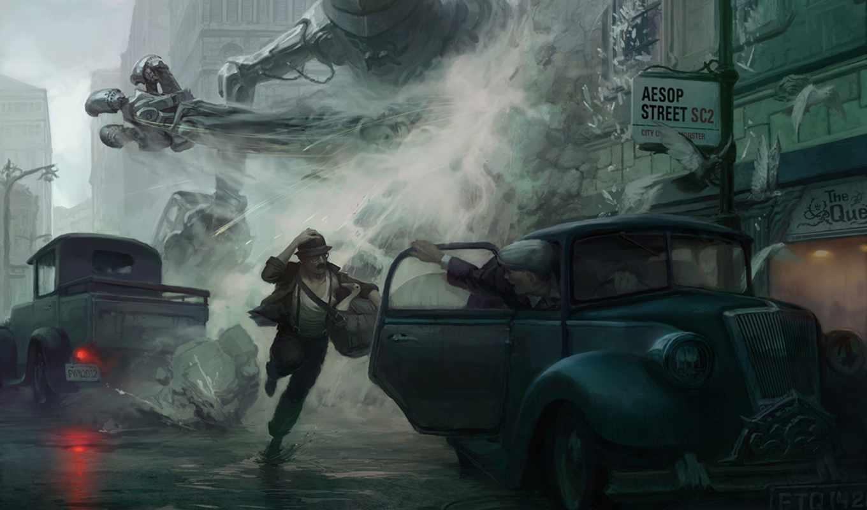 город, fantasy, монстр, фантастика, робот, monster