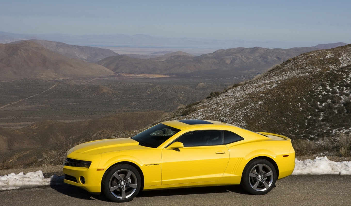 camaro, yellow, pose, side, near,