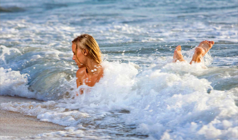 море, девушки, красавица, волны,