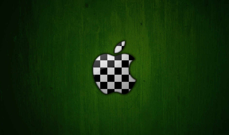 apple, logo, chessboard, green