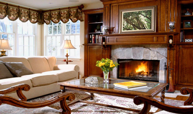 интерьер, камин, мебель, диван, стиль, уют, room, дом, living, with, ideas,