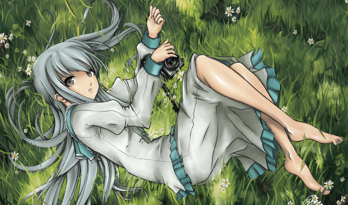 grass, anime, camera, original, unknown, post, девушка, relaxing, другое, watermark,
