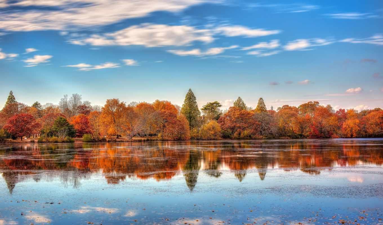 осень, река, лес, небо
