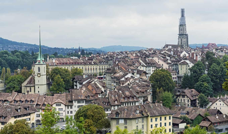берн, швейцария, здания, una, панорама, berna,