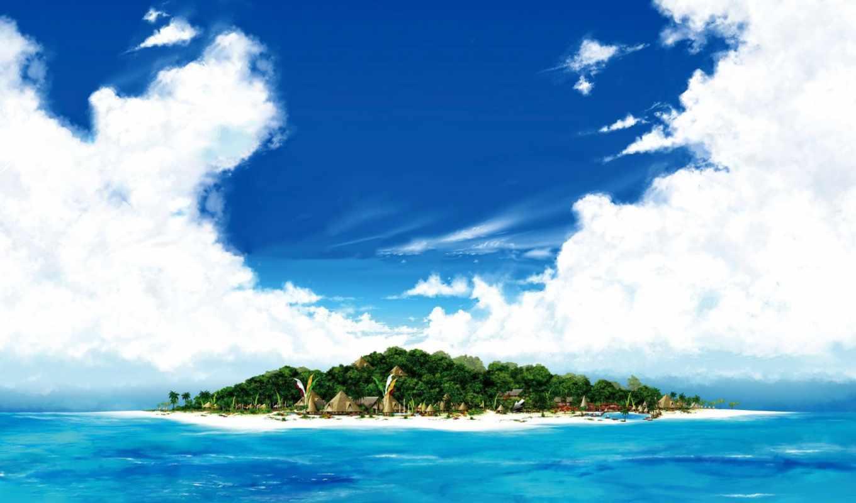 море, пляж, остров, песок, небо, water,