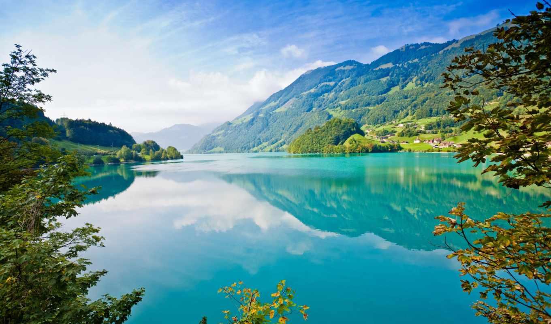 природа, water, небо, взгляд, горы, деревья, природы,