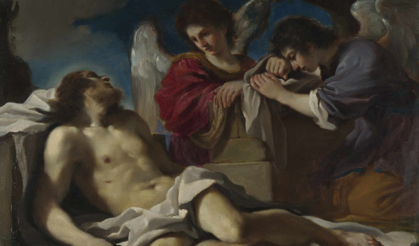 guercino, dead, angels, christ, mourned, два, страница, paintings, гверчино,