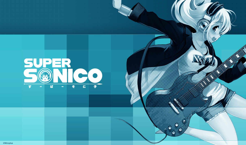 anime, девушка, гитарой, наушниках, супер, sonico, devushki,