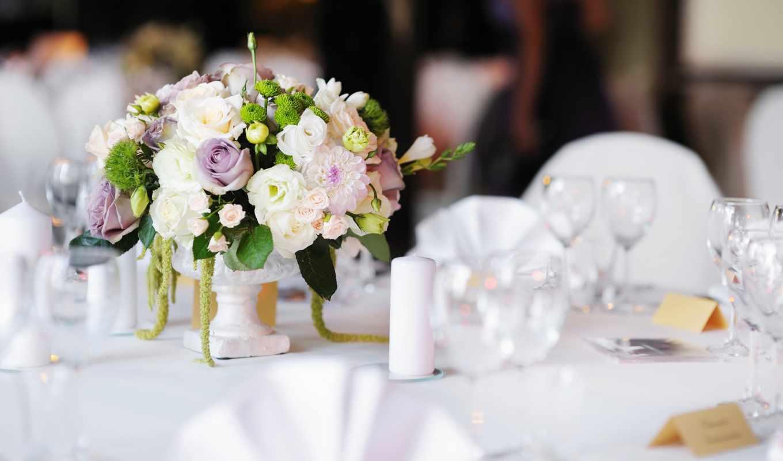 mariage, fleurs, столик, decoration, dans, les, une, des, mariés,