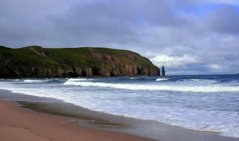 пляж, открыт, красивый, more, горы,