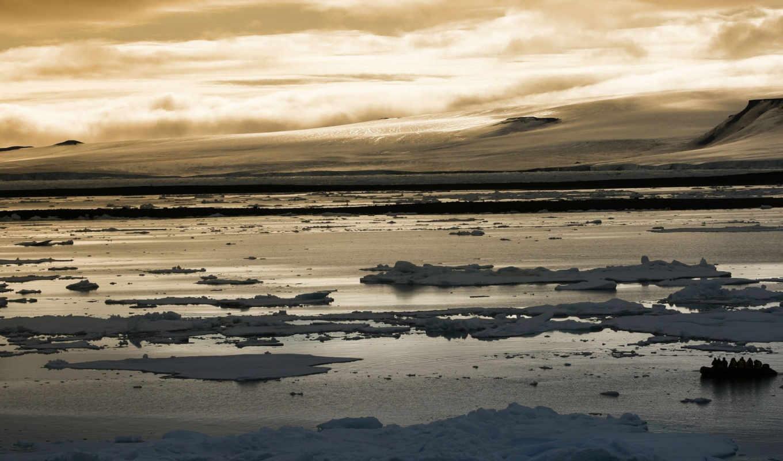 arctic, sunset, landscape, люди, горы, река, desktop, природа, лед,