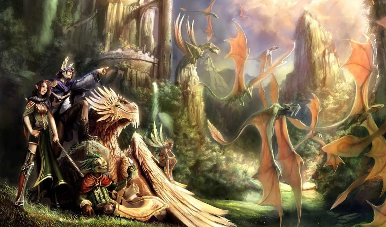 фэнтези, дракон, драконы, замок, темы, планшета, любого, смотрите, смартфона, монитора, номером, экрана, похожие, другого,