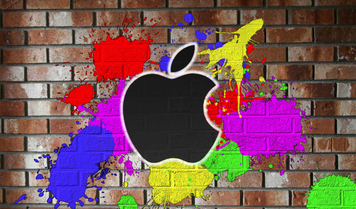 apple, color, painted, wall, mac, красках,