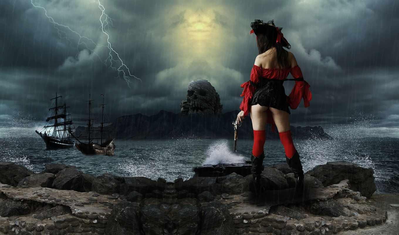 держащая, стоящая, руке, черноволосая, изображение, kartinka, женщина, дек, fone, дизайна, devushka,