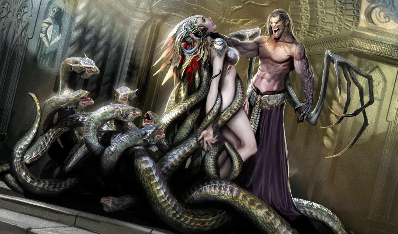 фэнтези, демон, змеи, top, art, графика, sejic, stjepan, битвы,