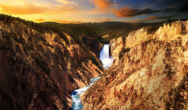 скалы, лес, закат, фотографий, вечер, водопад, landscape,