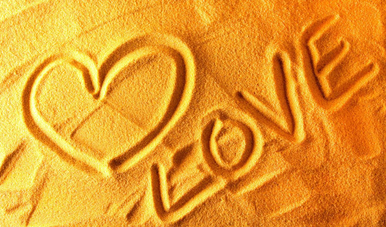 песке, love, надпись, об,