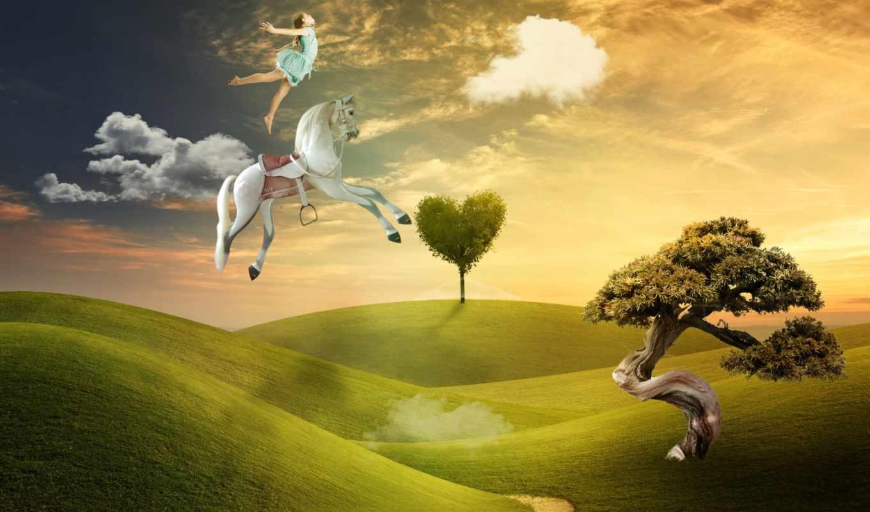 flying, лошадь, девушка, illustration,