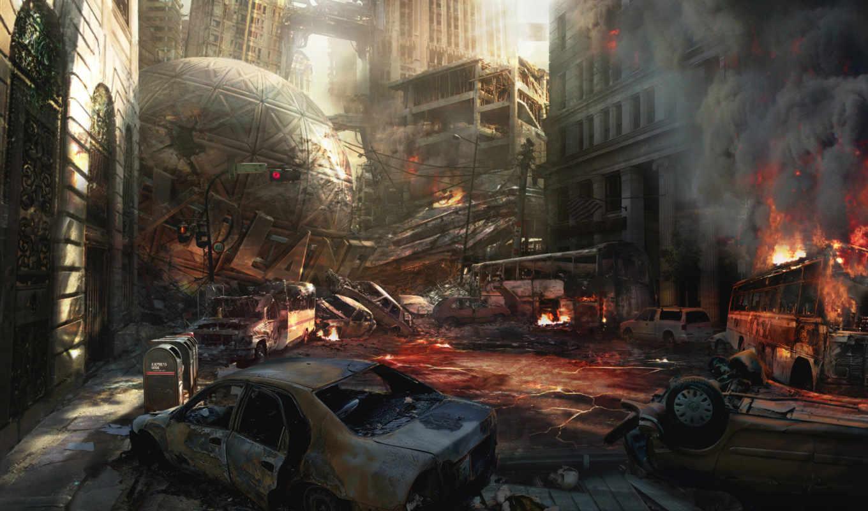 постапокалипсис, art, развалины, город,