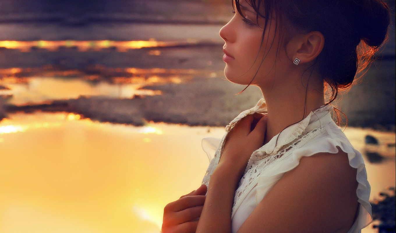 девушка, закат, девушки, браун, настроение, статусы, море, картинка,