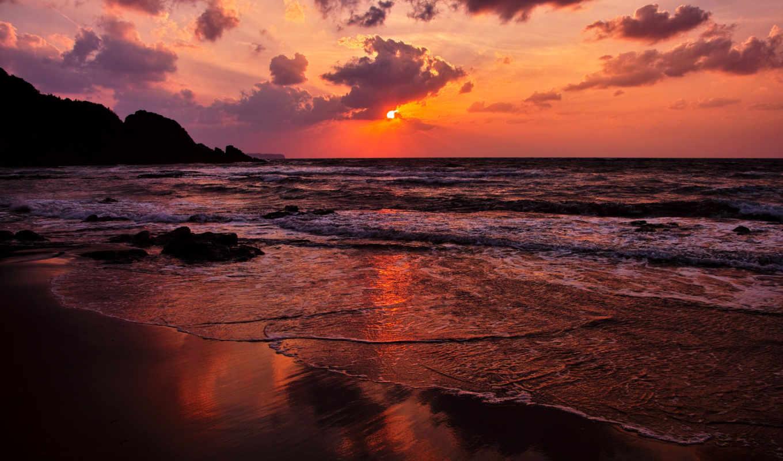 море, пляж, закат, небо,