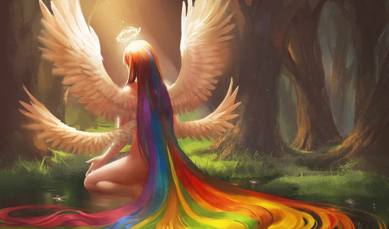 sakimichan, ангел, волосы, радуга, девушка, нимб, крылья, арт, nude, long, фантазия, wings,