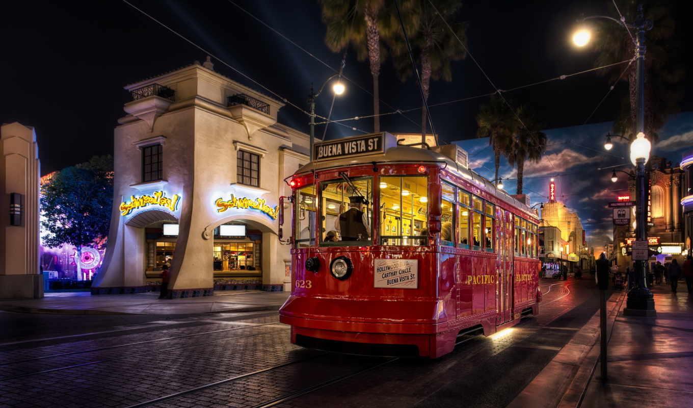 anaheim, california, tram, city, usa, night, street, vista, sreetcar, buena, united, states, desktop, правой, разное, города,