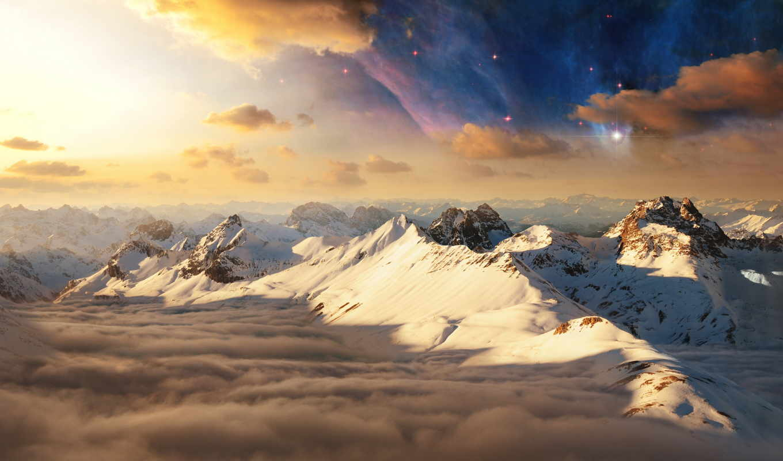 sun, mountains, гора, desktop, снег,