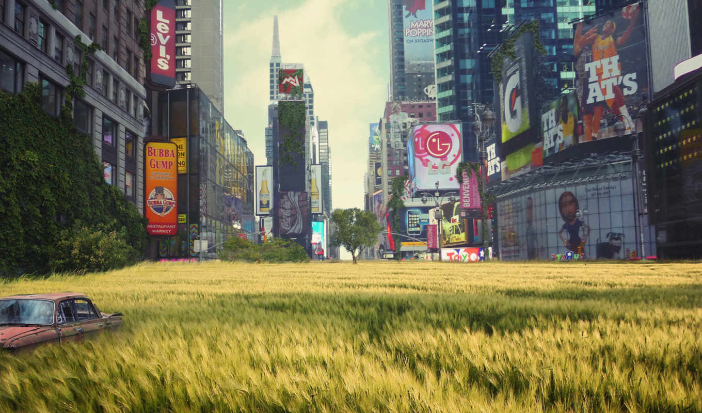 город, улица, car, реклама, небоскребы, дорога, поле, развалины, fallout,