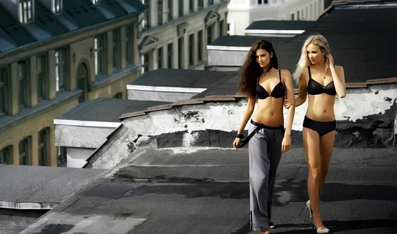 devushki, нижнем, белье, две, крыше,