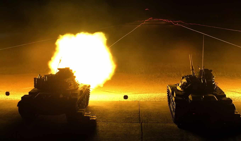 shot, ночь, оружие, танки, flash,