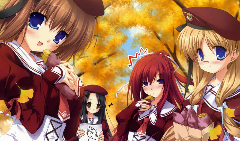 anime, осень, devushki, girls, девушка, школьница,