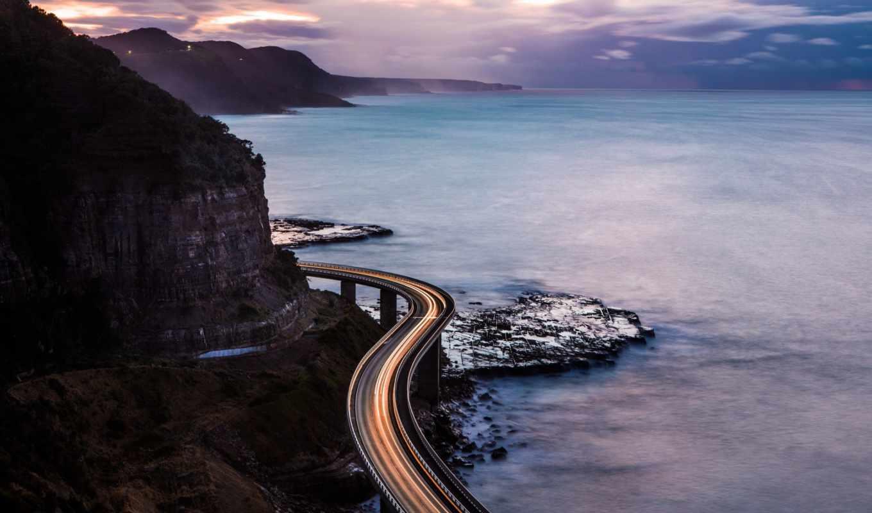 ocean, дорога, природа, море, скалы, со,