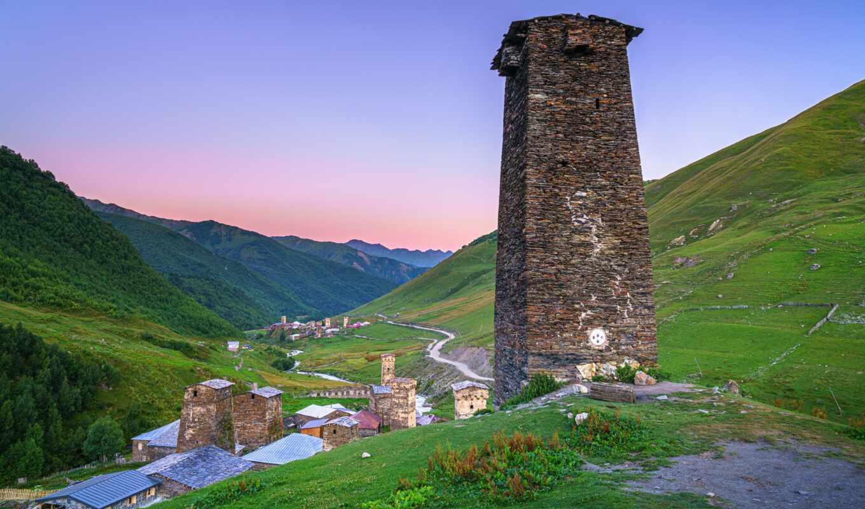 svanetus, гора, ushgulus, georgia, башня, природа, дерево, park, долина, national