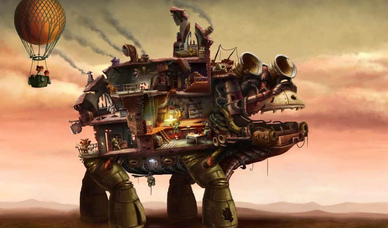 air, шар, house, фантастика, art, robot, дети, fantasy,
