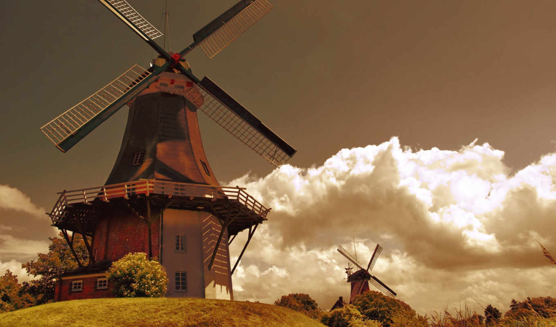 holland, mill, oblaka, мельницы, небо, трава, ветер, поле,
