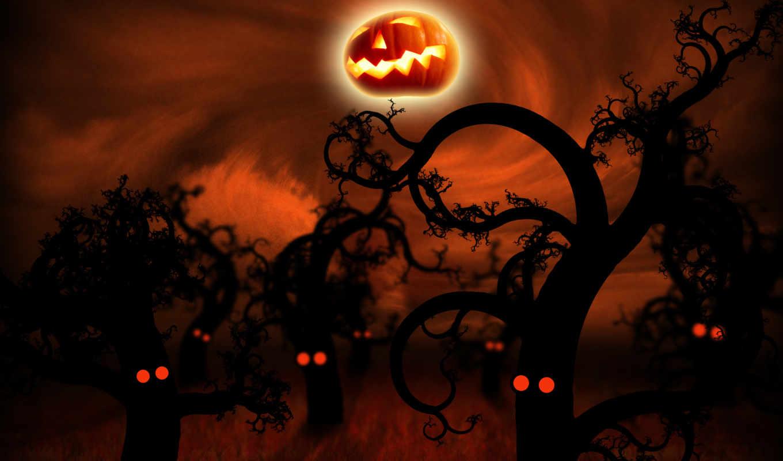 halloween, лес, полночь, без, ночь, названия, праздники, тыква,