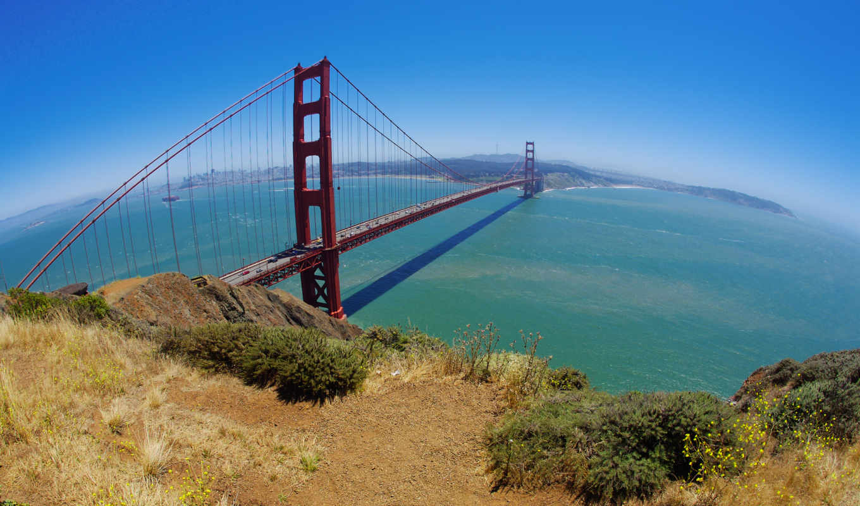 мост, золотистый, san, gate, francisco, золотые, небо, город,