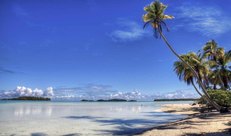 lagoon, пальмы, горизонт, ocean, пейзажи -,