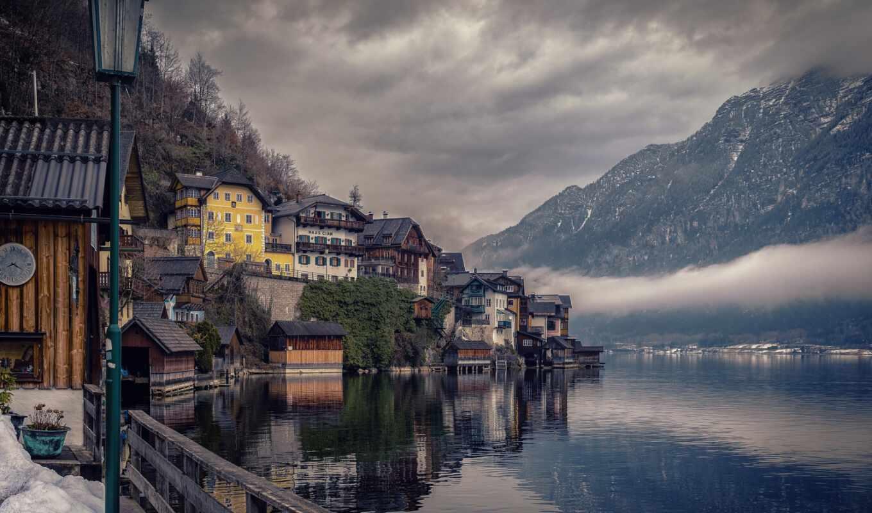 австрия, hallstatt, гора, home, облака, озеро, праздник