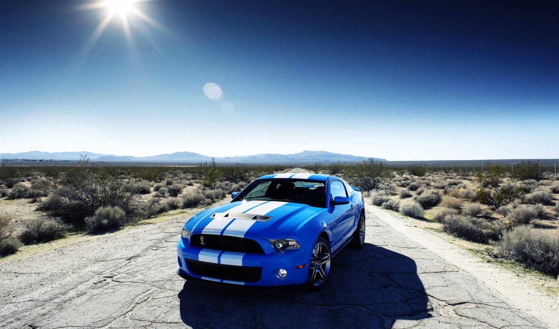 ford, shelby, mustang, car, пустыне, blue, desktop,