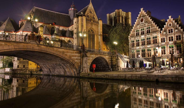 belgium, мост, gent, saint, картинка, ghent, michaels, картинку, правой, кнопкой, города,