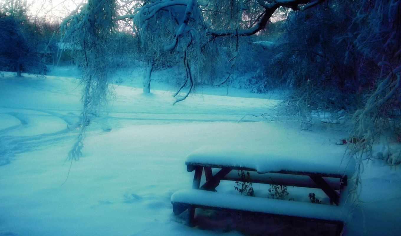 зима, столик, парк, деревья, снег, скамейка, размытость, картинка, nature, эти,