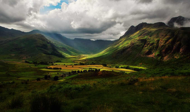 горы, англия, mountains, долина, холмы, поля, облака, небо, осень, природа, landscape,