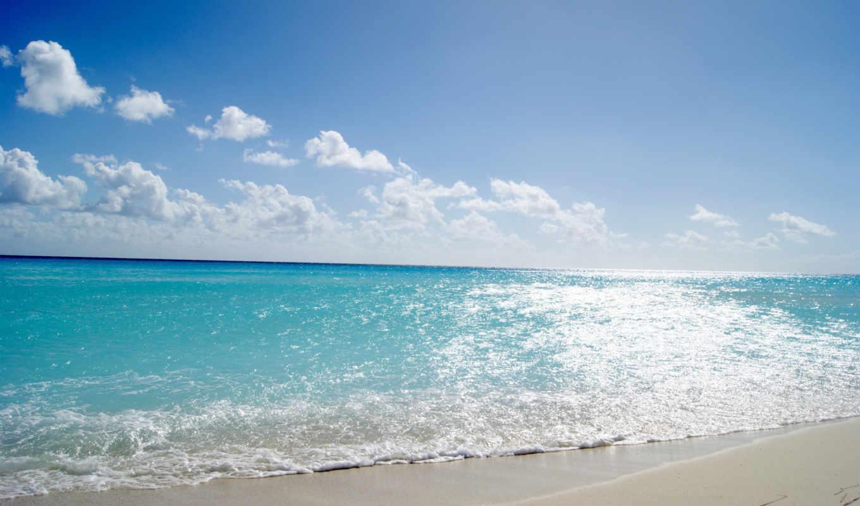 море, пляж, sun, берег, summer, water, небо, песок, волны, облака,