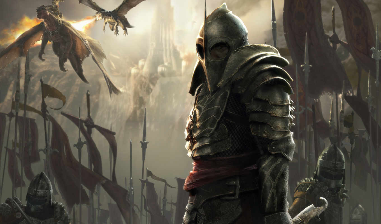 lair, воин, والپیپر, армия, огонь, драконы, картинку, доспехи, color, dragon, juegos, знамя, knights, изображение, обою,